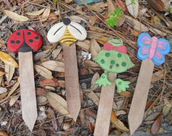 SPRING Plant Markers, Set of 4, Ready to Ship
