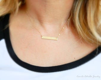 Mothers Day Gifts, Personalized Name Necklace, 14K Gold Necklace, Custom Necklaces, Bar Necklace, Nameplate Necklace, Engraved Necklace