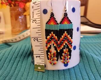 Hand beaded Southwestern style earrings