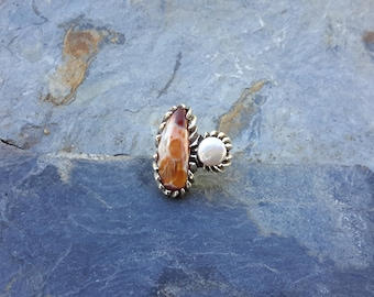 No.151 Painted Lake Superior Agate and Tennessee River Coin Pearl Ring