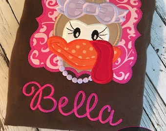 Girly turkey personalized! Perfect for thanksgiving and fall! bodysuit or tshirt!