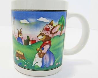 Coffee Mug Mom & Baby Bunny Rabbit Spring Scene Ceramic