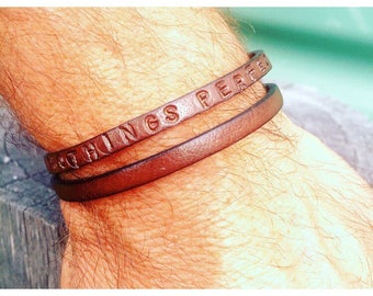 Custom. Made to Order. Double Leather Bracelet. Hand Stamped. Words to Live By.