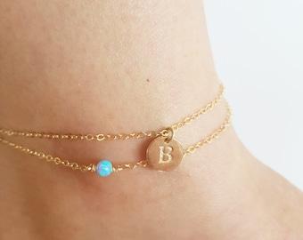 Initial Anklet,Personalized Anklet,Opal Anklet,Ankle bracelet,Gold filled or Sterling Silver,Layering Anklet,Beach anklet,gift,Dainty Anklet