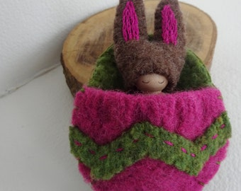 Bunny in Easter Egg Pouch, Made to Order, Waldorf Peg Doll, Easter Basket Toy, Spring Rabbit, Hot Pink, Spring Green, Upcycled wool, eco toy