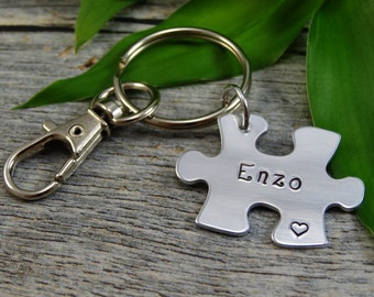 Hand stamped key chain - Autism key chain - Puzzle piece key chain - Fathers day gift - Autism dad