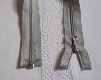 Fermeture éclair séparable 40 cm gris clair