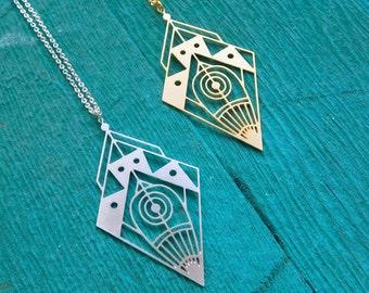 Space Diamond Necklace, Long Geometric Necklace, boho Tribal Necklace, Space Necklace, Diamond Pendant, Festival Necklace statement jewelry