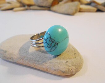 Adjustable Turquoise Ring Round Blue Stone Statement Ring Simple Casual Rings December Birthday Gift Friendship Ring Unique Bolivian Jewelry