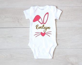 Easter Bunny Bodysuit Personalized Easter Bodysuit Baby Girl Bunny Ears and Name Bodysuit First Easter Bodysuit