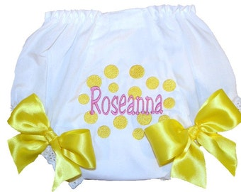 Personalized Baby Girl Diaper Cover, Bloomers Bright Yellow Dots Design
