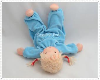 "Waldorf Doll. 14"". Waldorf toys, soft dolls, Waldorf baby doll, bunting baby. Brown eyes. Blond hair."