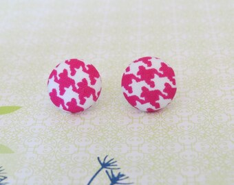 Pink and White Houndstooth Button Earrings