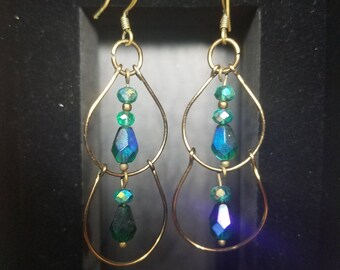 Double drop wire and crystal beaded earrings