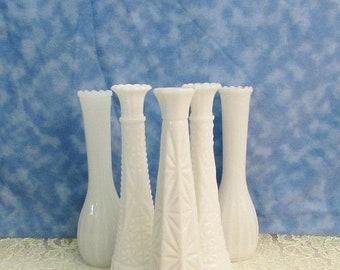 SALE Vintage Milk Glass Bud Vase Lot, Instant Bud Vase Collection, Wedding Milk Glass Bud Vases