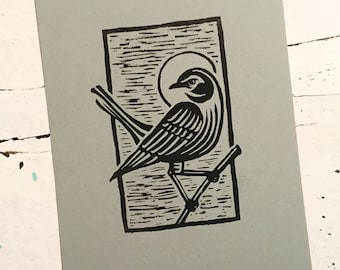 "Mockingbird, 5"" x 7"", 1 Color Relief Print, linocut."