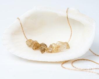 Golden Rutilated Quartz Necklace - Stone Bar Necklace - Rough Stone Necklace -Layering Necklace - Beaded Necklace