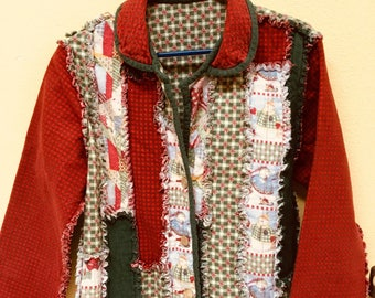 Handmade Snowmen/Snowflakes Flannel Rag Quilt Jacket with 3-Button Front