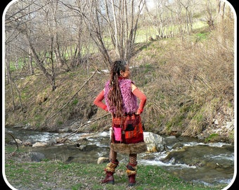 tribal patchwork skirt in nepal wool