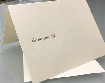 Thank You - Letterpress printed greeting cards A-2 package of 5