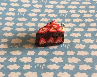 Polymer clay strawberry and  chocolate cake charm