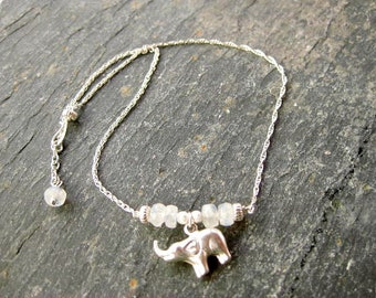 Silver ankle chain with little elephant charm & faceted rainbow moonstone beads, silver anklet chain, silver ankle jewelry, beach jewellery