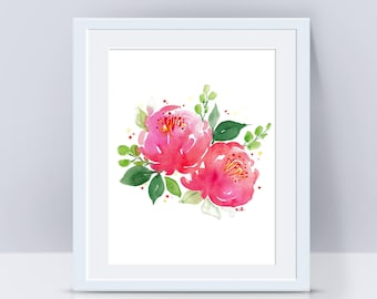 Flower print, Peony print, Flower art, Watercolor flowers, Nursery decor, Wall art print, Peony painting, Flower painting, Floral painting