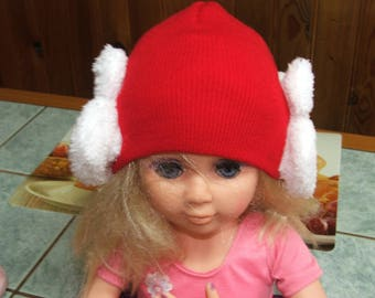 Red rabbit ears - 12/36 months - fine acrylic wool Cap