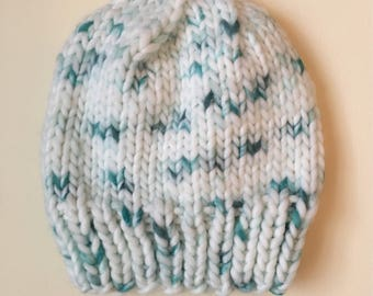 Handknit women's beanie // chunky knit hat // teal and white