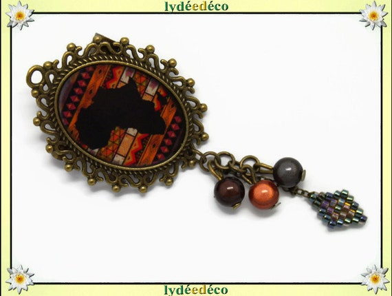 Resin brooch Africa weaving beads retro bronze Brown Tan Black