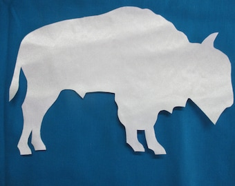 right facing, extra large white buffalo appliqué, native american style