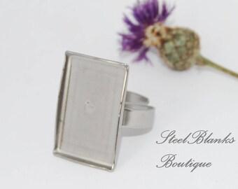 Stainless Steel Caboshon Ring Blanks Rectangular 16x24 mm