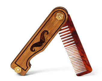 Mustache & Beard Comb - Personalized Wood Folding Pocket Men's Grooming Accessory - Bamboo and Tortoise Shell