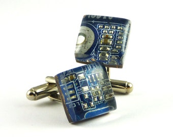 Geek Cufflinks Mens Resin Circuit Board Cuff Links Blue Cufflinks Groomsmen Gift for Him Gift for Husband Custom Gift for Dad Upcycling