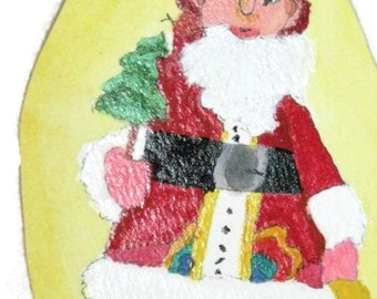 St Nick Painted Paper Ornament, Christmas Painted Ornament, Santa Ornament