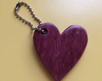 Handmade Wooden Heart Keychain made from Exotic Wood.