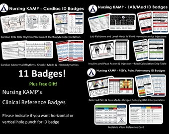 12 ID Badges Nursing Student Nurse Cardiac ECG EKG Clinical Medical Gift Nursing Kamp