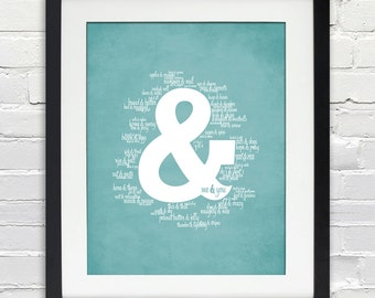 Ampersand - Things That Go Together Like Me & You - Typography Print - INSTANT DOWNLOAD, Printable Poster - 8x10, aqua