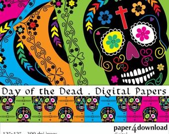 """Día de los Muertos - Day of the Dead - Digital Paper, 12""""x12"""", 300 dpi JPG, Printable, Instant Download"""