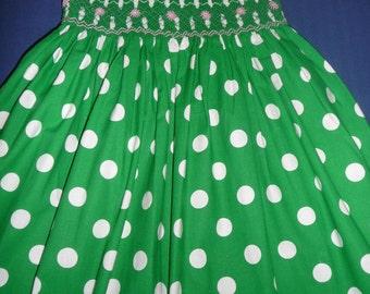 Polka dots green dress