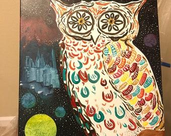 Space Owl 12x14 acrylic on canvas