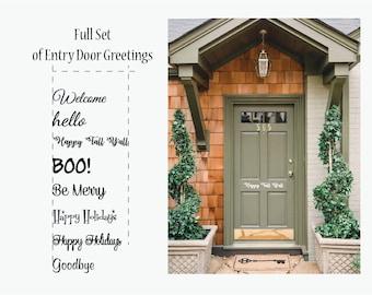 Entry Door Greetings, Front door Vinyl, All Holidays front door vinyl, Welcome Decal, Home decals, Christmas Decals, Front Door Decal