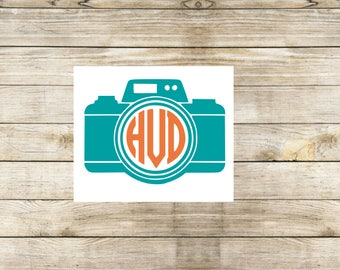 Camera monogram decal, Camera decal, photographer decal, camera monogram decal, laptop decal, tumbler decal, window decal, picture monogram