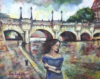 Paris landscape original oil painting, pont neuf painting, parisian woman imprissionistic canvas painting, interior painting, oil painting