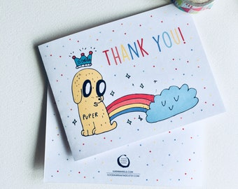 Thank you! Dog Rainbow Card | Blank Card, Gift Idea.