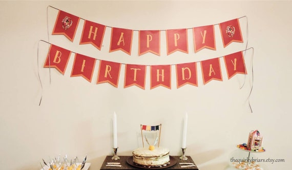Printable Birthday Banner ~ Wizard party banner printable happy birthday banner red