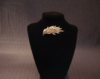 Vintage Trifari Leaf Brooch, Signed, Gold Tone [1970's]