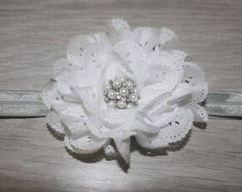 Silver and White Flower Baby Headband
