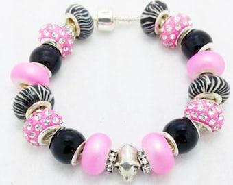 Zebra Pig European Style Charm Bracelet