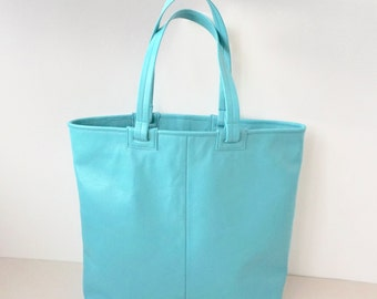 Large Turquoise Minimalist Calf Leather Shoulder Bag / Lined Leather Tote Bag